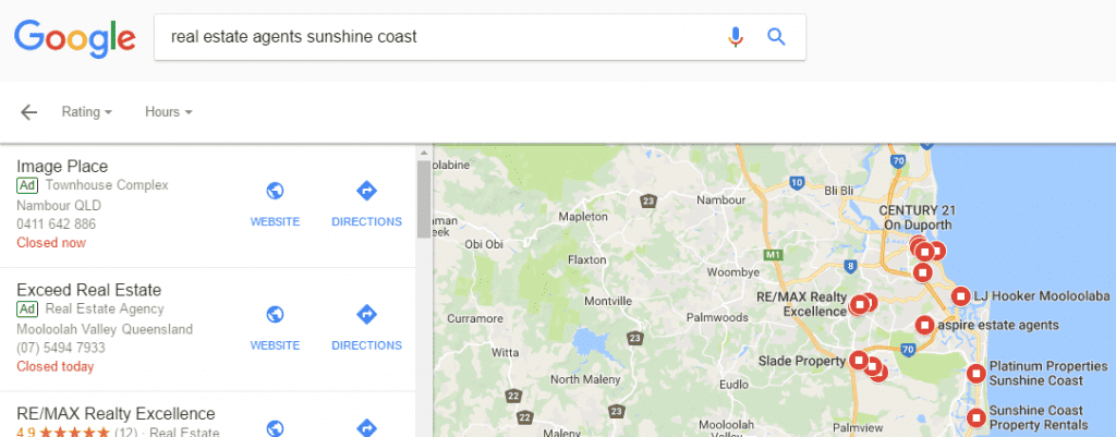 Local real estate ads in map results