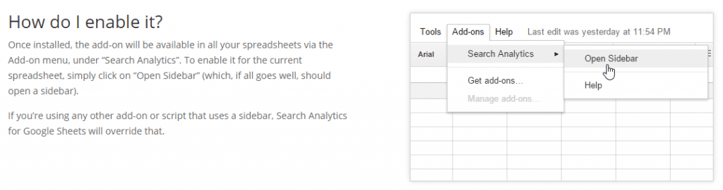 Search Analytics for Spreadsheets