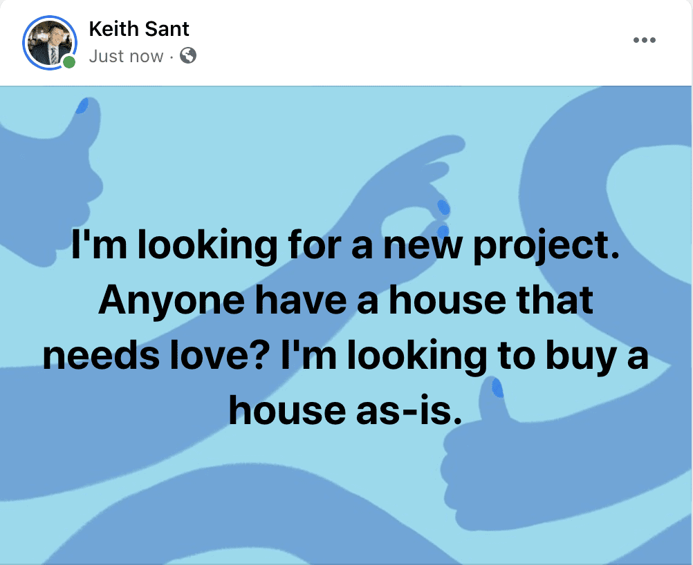 Post Example to find motivated sellers on Facebook groups